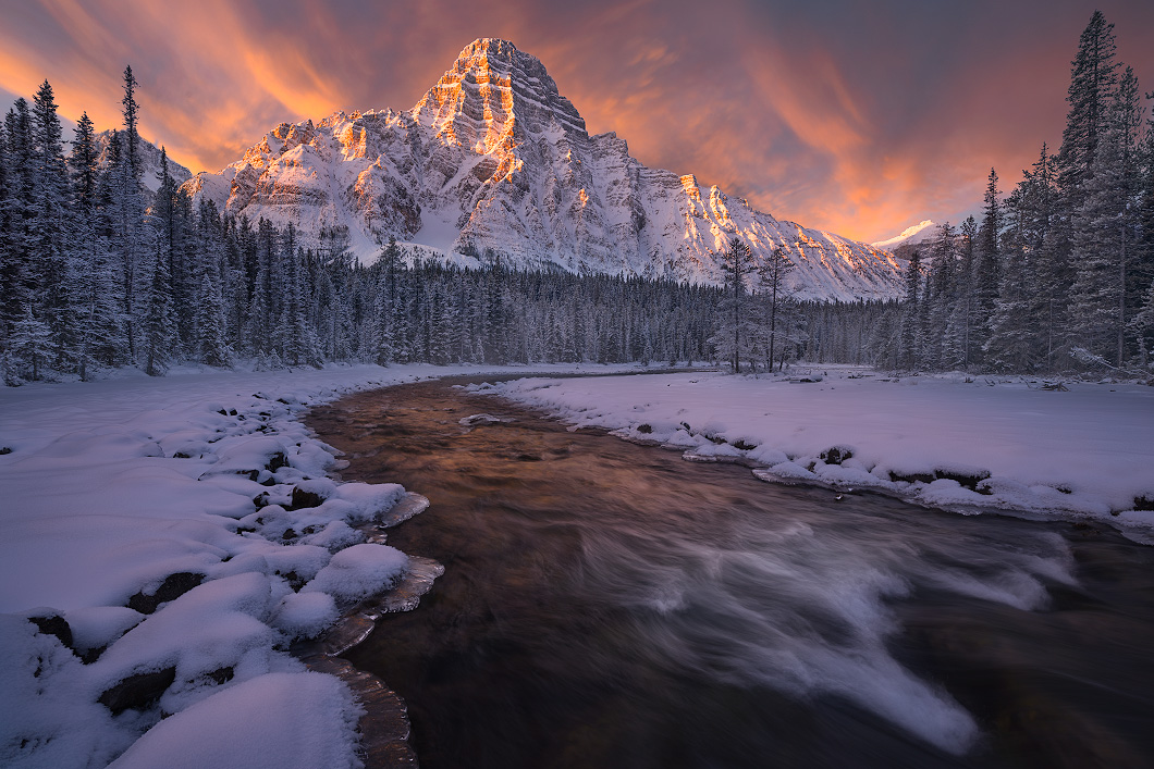A fine art nature photograph of the sunrise at mount Chephren in winter by Bryce Mironuck