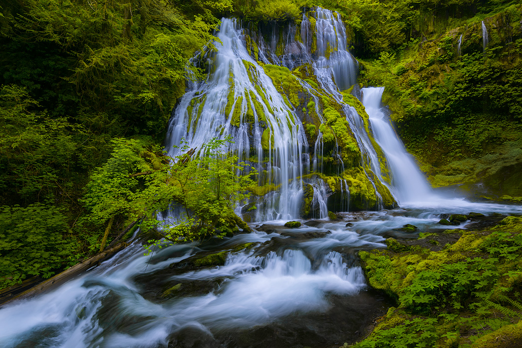 A fine art nature photograph of the upper falls of Panther Creek Falls, Washington by Bryce Mironuck