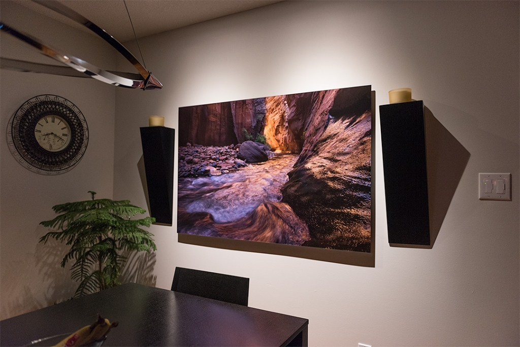 "A photograph of my print called ""bloodline"" hung in a room"