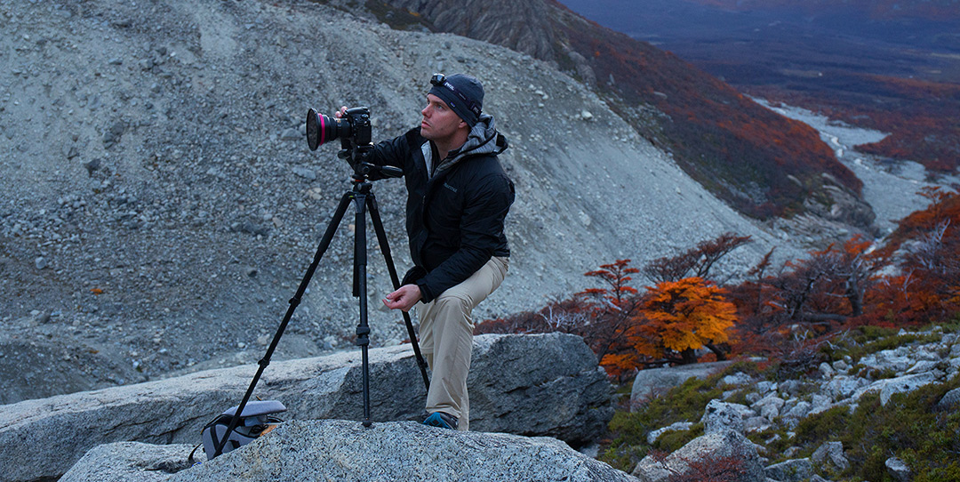 A photograph of Bryce Mironuck taking images at Laguna Sucia in Argentina - A region in Patagonia
