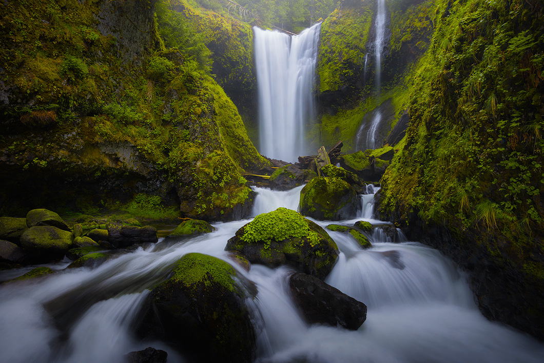 A fine art nature photograph taken of a waterfall called falls creek falls in Washington by Bryce Mironuck