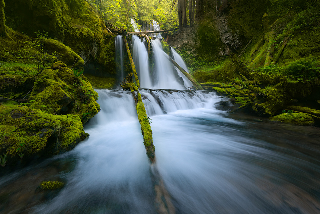 A fine art nature photograph taken of the lower waterfall at Panther Creek Falls in Oregon by Bryce Mironuck