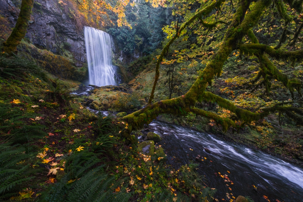 A fine art nature photograph taken of Upper Bridal Veil Creek Falls waterfall in Oregon by Bryce Mironuck